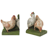 Hens 10 X 4 inch Hand Painted Green, Orange and Cream Bookends