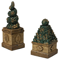 Sterling Industries Set of 2 Topiary Trees Boxes in Dana Gold and Green 93-19316/S2