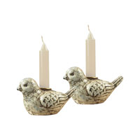 Sterling Industries Mini Bird Candle Holders Decorative Accessory in Minsk White 93-9204