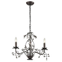 Oberon 3 Light 21 inch Oil Rubbed Bronze and Clear Chandelier Ceiling Light