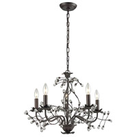 Oberon 5 Light 21 inch Oil Rubbed Bronze and Clear Chandelier Ceiling Light