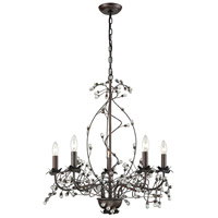 Oberon 5 Light 26 inch Oil Rubbed Bronze and Clear Chandelier Ceiling Light, Grande