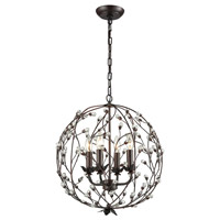 Oberon 4 Light 17 inch Oil Rubbed Bronze and Clear Chandelier Ceiling Light