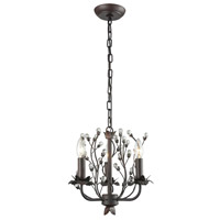 Oberon 3 Light 13 inch Oil Rubbed Bronze and Clear Chandelier Ceiling Light