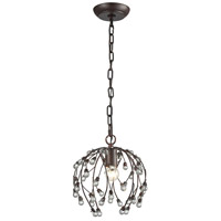 Oberon 1 Light 9 inch Oil Rubbed Bronze and Clear Pendant Ceiling Light