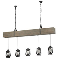 Sterling D3683 Sutters Mill 5 Light 75 inch Salvaged Grey Wood With Black Island Light Ceiling Light