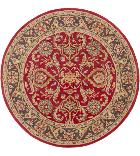 Surya AWHY2062-36RD Middleton 42 X 42 inch Bright Red/Charcoal/Mustard/Dark Brown/Olive/Tan Rugs, Round photo