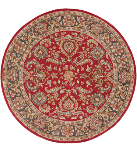 Surya AWHY2062-8RD Middleton 96 X 96 inch Bright Red/Charcoal/Mustard/Dark Brown/Olive/Tan Rugs, Round photo
