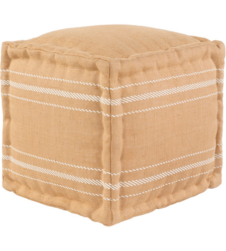 Brilliant Surya Bde001 161618 Bande 16 Inch Camel White Pouf Cube Gmtry Best Dining Table And Chair Ideas Images Gmtryco