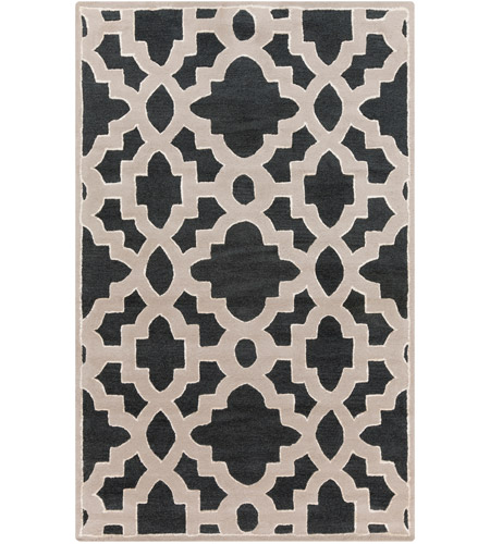 Surya CAN2036-3353 Modern Classics 63 X 39 inch Black and Neutral Area Rug, Wool photo