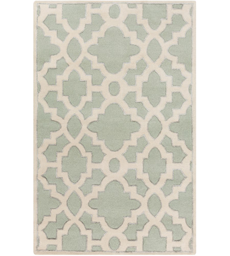 Surya CAN2039-3353 Modern Classics 63 X 39 inch Green and Neutral Area Rug, Wool photo