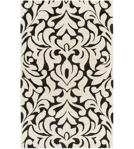 Surya CAN2080-58 Modern Classics 96 X 60 inch Black and Neutral Area Rug, Wool photo
