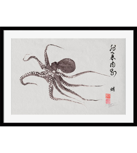 Surya DH116A001-1815 Flying Octopus Calligraphy Wall Art, Rectangle, Eternal photo