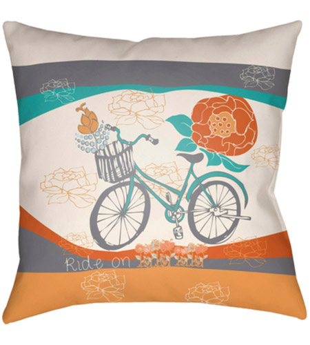 Surya DO006-1818 Doodle 18 X 18 inch Orange and Grey Outdoor Throw Pillow