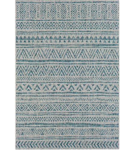 Surya EAG2307-679 Eagean 108 X 79 inch Aqua and Black Outdoor Area Rug photo