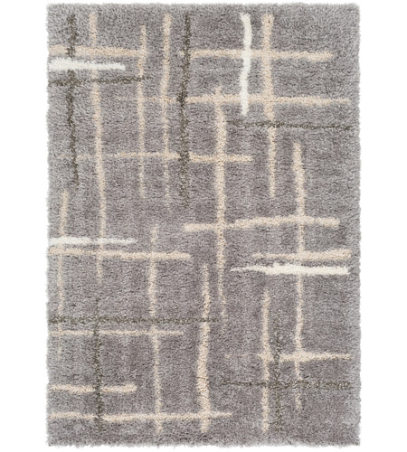 Surya FAF1000-810 Fanfare 120 X 96 inch Gray and Gray Area Rug, Polyester and Polypropylene photo