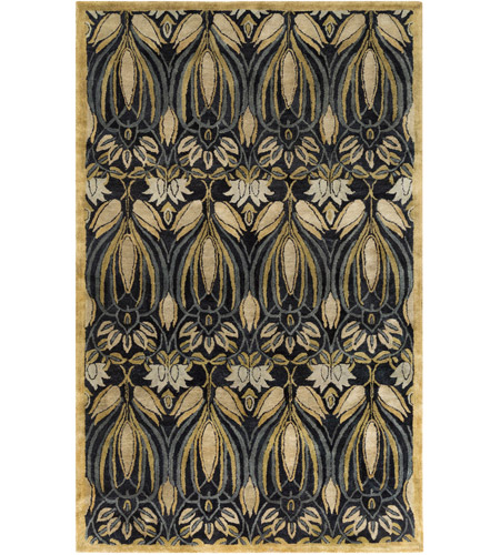 Surya FGD1004-23 Fitzgerald 36 X 24 inch Black and Green Area Rug, Wool photo