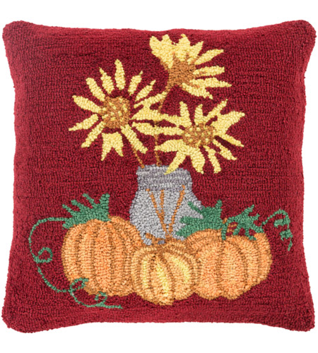Surya FHI001-1818 Fall Harvest Red and Yellow Holiday Pillow Cover photo