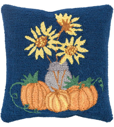 Surya FHI002-1818D Fall Harvest Navy and Yellow Holiday Throw Pillow photo