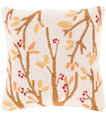 Surya FHI003-1818P Fall Harvest Beige and Orange Holiday Throw Pillow photo