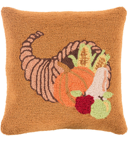 Surya FHI004-1818D Fall Harvest Orange and Brown Holiday Throw Pillow photo