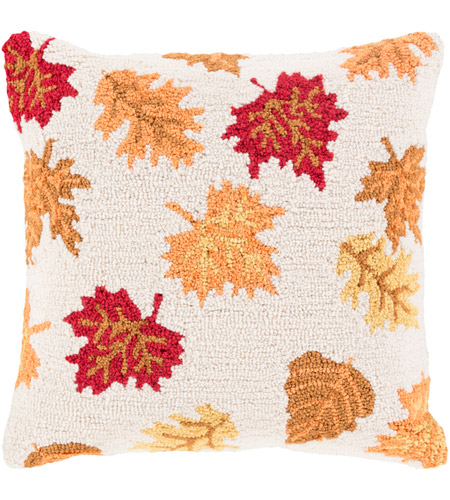 Surya FHI005-1818D Fall Harvest Beige and Orange Holiday Throw Pillow photo