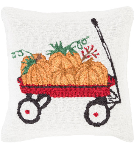 Surya FHI006-1818P Fall Harvest White and Red Holiday Throw Pillow photo