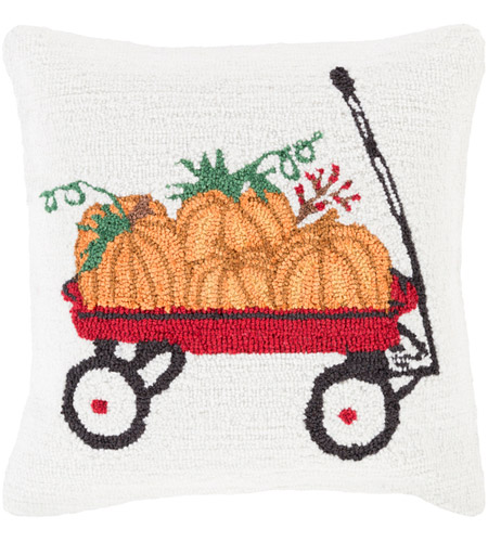 Surya FHI006-1818D Fall Harvest White and Red Holiday Throw Pillow photo