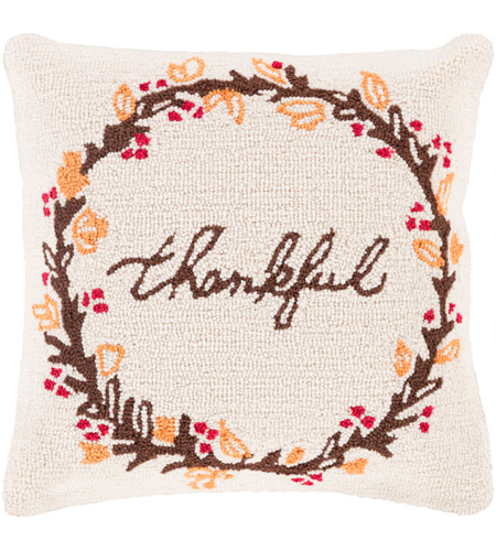 Surya FHI007-1818D Fall Harvest Beige and Brown Holiday Throw Pillow photo