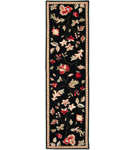 Surya FLO8907-238 Flor 96 X 27 inch Black and Red Runner, Wool photo