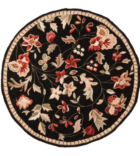Surya FLO8907-4RD Flor 48 inch Black and Red Area Rug, Wool photo