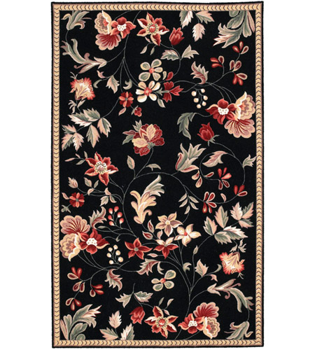 Surya FLO8907-58 Flor 96 X 60 inch Black and Red Area Rug, Wool photo