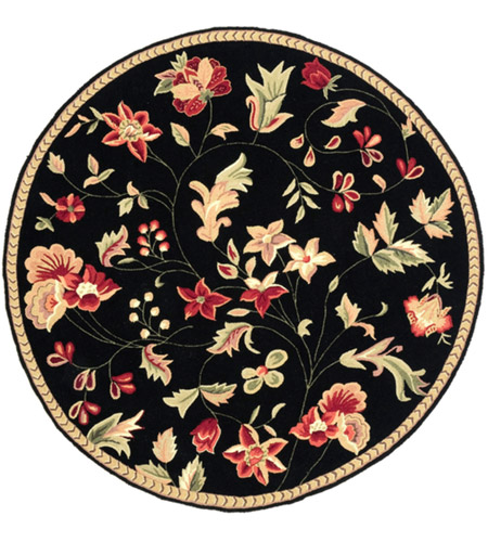 Surya FLO8907-3RD Flor 36 inch Black and Red Area Rug, Wool photo
