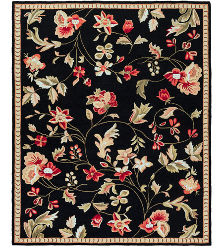 Surya FLO8907-810 Flor 120 X 96 inch Black and Red Area Rug, Wool photo