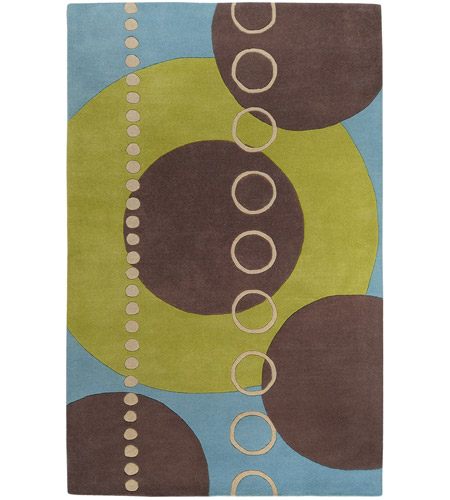 Surya FM7013-58 Forum 96 X 60 inch Green and Blue Area Rug, Wool photo