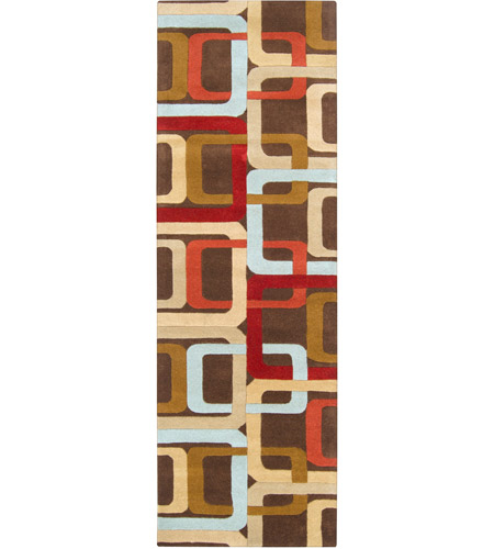 Surya FM7106-268 Forum 96 X 30 inch Red and Brown Runner, Wool photo