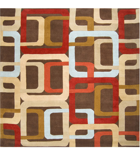 Surya FM7106-8SQ Forum 96 X 96 inch Red and Brown Area Rug, Wool photo