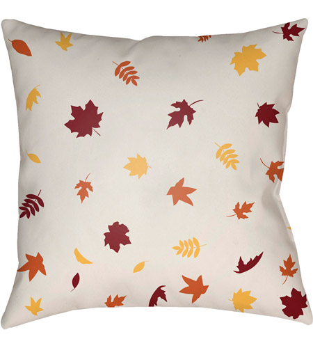 Surya FROND001-2020 Falling Leaves 20 X 20 inch White and Red Outdoor Throw Pillow photo