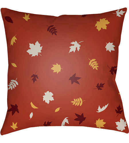 Surya FROND002-2020 Falling Leaves 20 X 20 inch Red and White Outdoor Throw Pillow photo