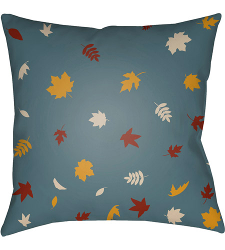 Surya FROND003-2020 Falling Leaves 20 X 20 inch Blue and Yellow Outdoor Throw Pillow photo