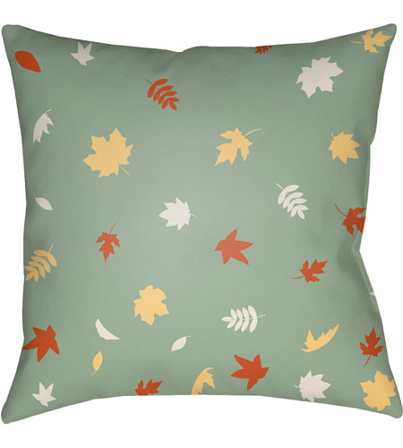 Surya FROND004-2020 Falling Leaves 20 X 20 inch Green and Orange Outdoor Throw Pillow photo