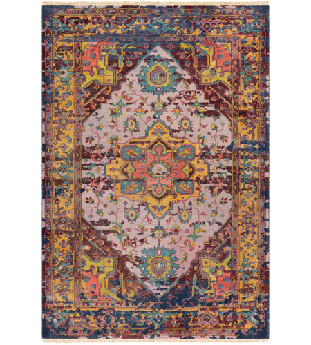 Surya FVL1004-69 Festival 108 X 72 inch Purple and Purple Area Rug, Wool photo
