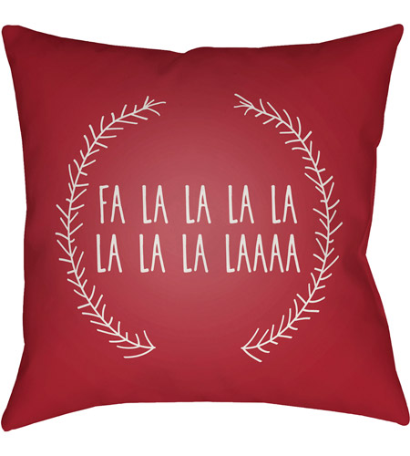 Surya HDY022-2020 Falalalala 20 X 20 inch Red and White Outdoor Throw Pillow photo