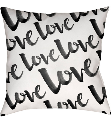 Surya Heart004 2020 Love 20 X 20 Inch Black And White Outdoor Throw