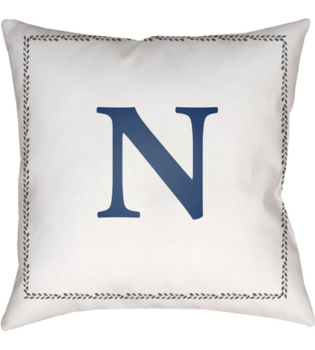 Surya Int014 2020 Initials 20 X Inch White And Blue Outdoor Throw Pillow Photo