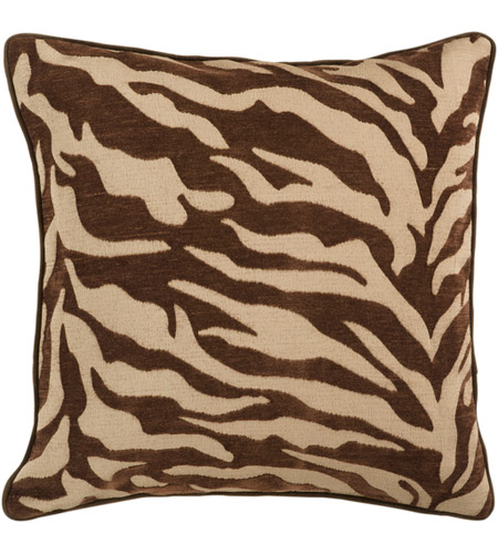 Dark Brown Throw Pillows.Surya Js033 1818d Velvet Zebra 18 X 18 Inch Tan And Dark Brown Throw Pillow