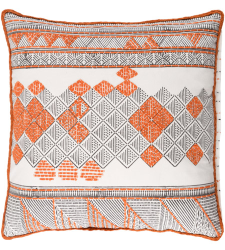 Dark Brown Throw Pillows.Surya Ker001 2222p Kerio 22 X 22 Inch Bright Orange And Dark Brown Throw Pillow
