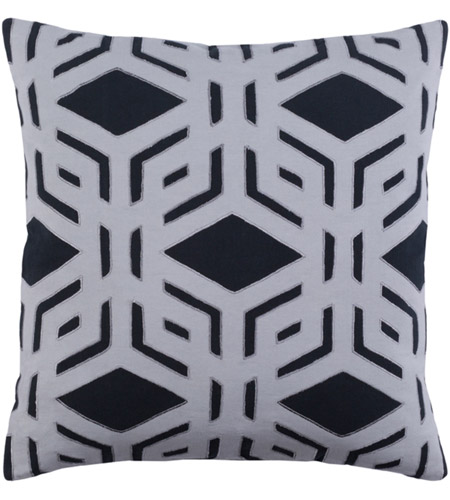 Surya MBK001-2222 Millbrook 22 X 22 inch Black and Grey Pillow Cover photo
