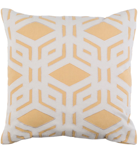Surya MBK003-2222P Millbrook 22 X 22 inch Mustard and Ivory Pillow photo
