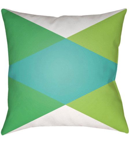 Surya MD004-1818 Moderne 18 X 18 inch White and Green Outdoor Throw Pillow photo